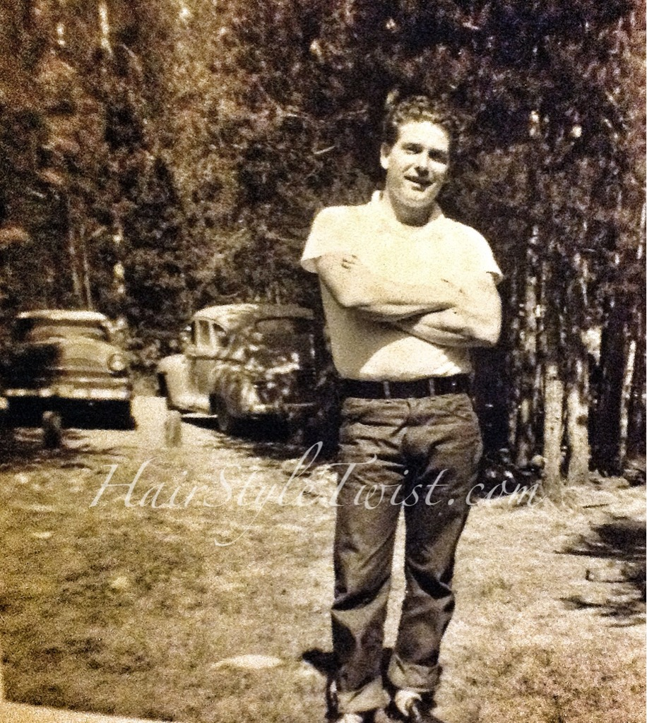 1950 S Man With Curly Hair And Rolled Up Jeans